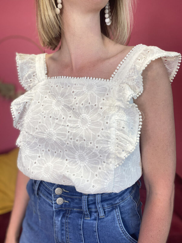 ISIS - TOP BRODERIE ANGLAISE FLEURI